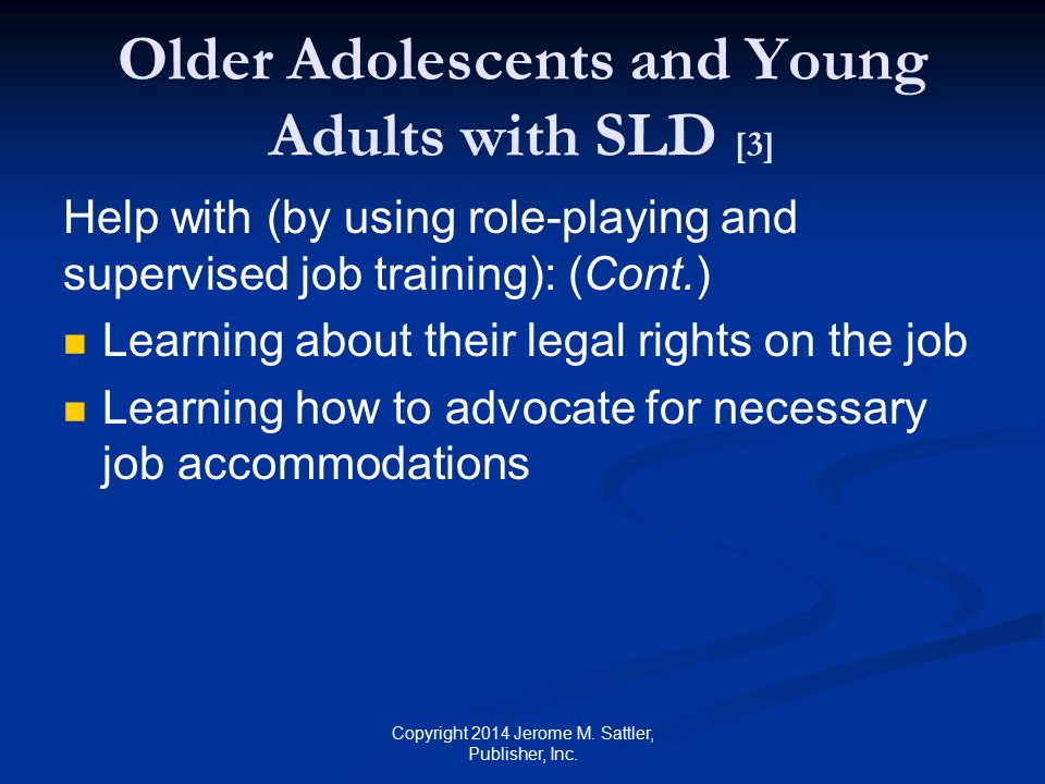 Older Adolescents and Young Adults with SLD [3]